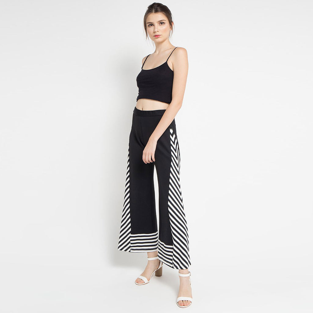 Black and White Cullotes Pants-2MADISONAVENUE.COM