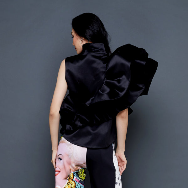 Destiny Ruffle Vest Black-2MADISONAVENUE.COM