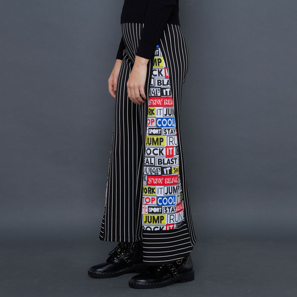 Basic Cullote Pant Black in Graffiti Art-2MADISONAVENUE.COM