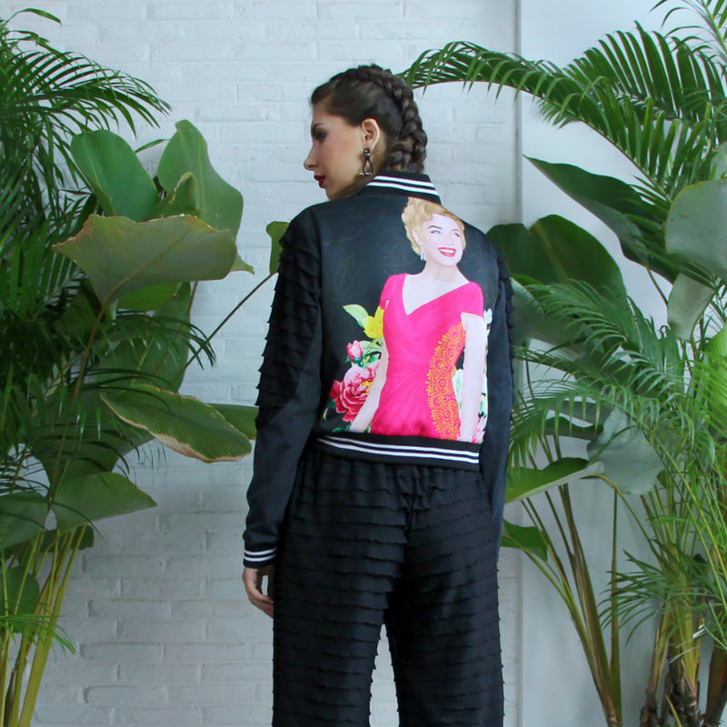 Varsity Jacket With Marilyn Tropical Art
