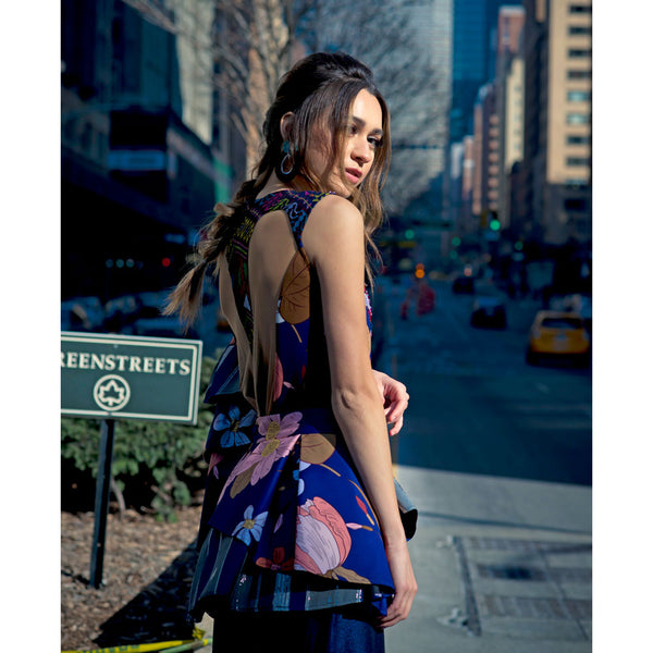 Cordelia Dress With Surprise Art In Navy-2MADISONAVENUE.COM