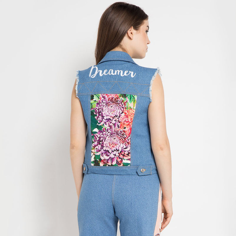 Boho Chic Vest Denim with Paradiso Salmon Art-2MADISONAVENUE.COM
