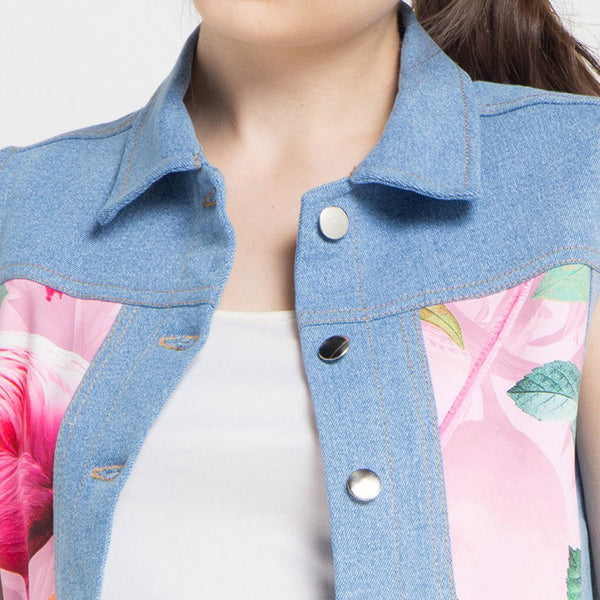 Denim Vest with Mi Miami Flamingo Pink-2MADISONAVENUE.COM