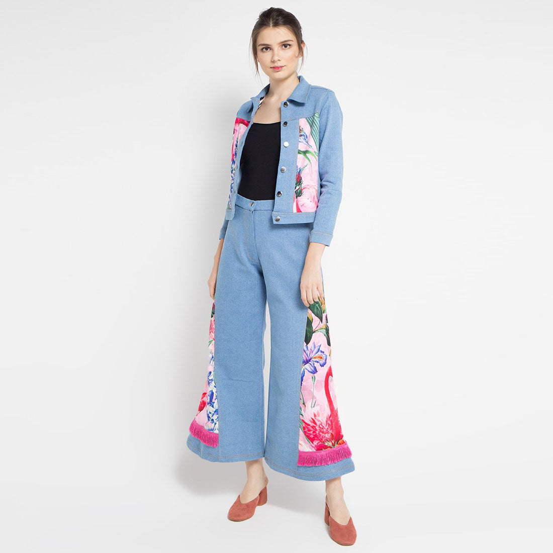 Denim Cullotes Pants with Mi Miami Flamingo Pink-2Madison Avenue Indonesia
