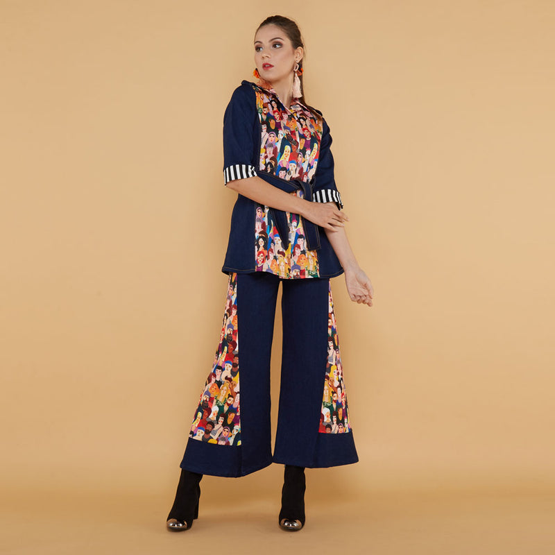 Boho Chic Denim Cullotes with Diversity Art-2MADISONAVENUE.COM