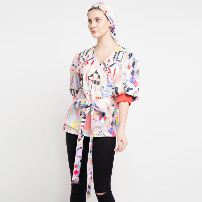 Fancy Kimono Blouse with Abtraction Art-2MADISONAVENUE.COM