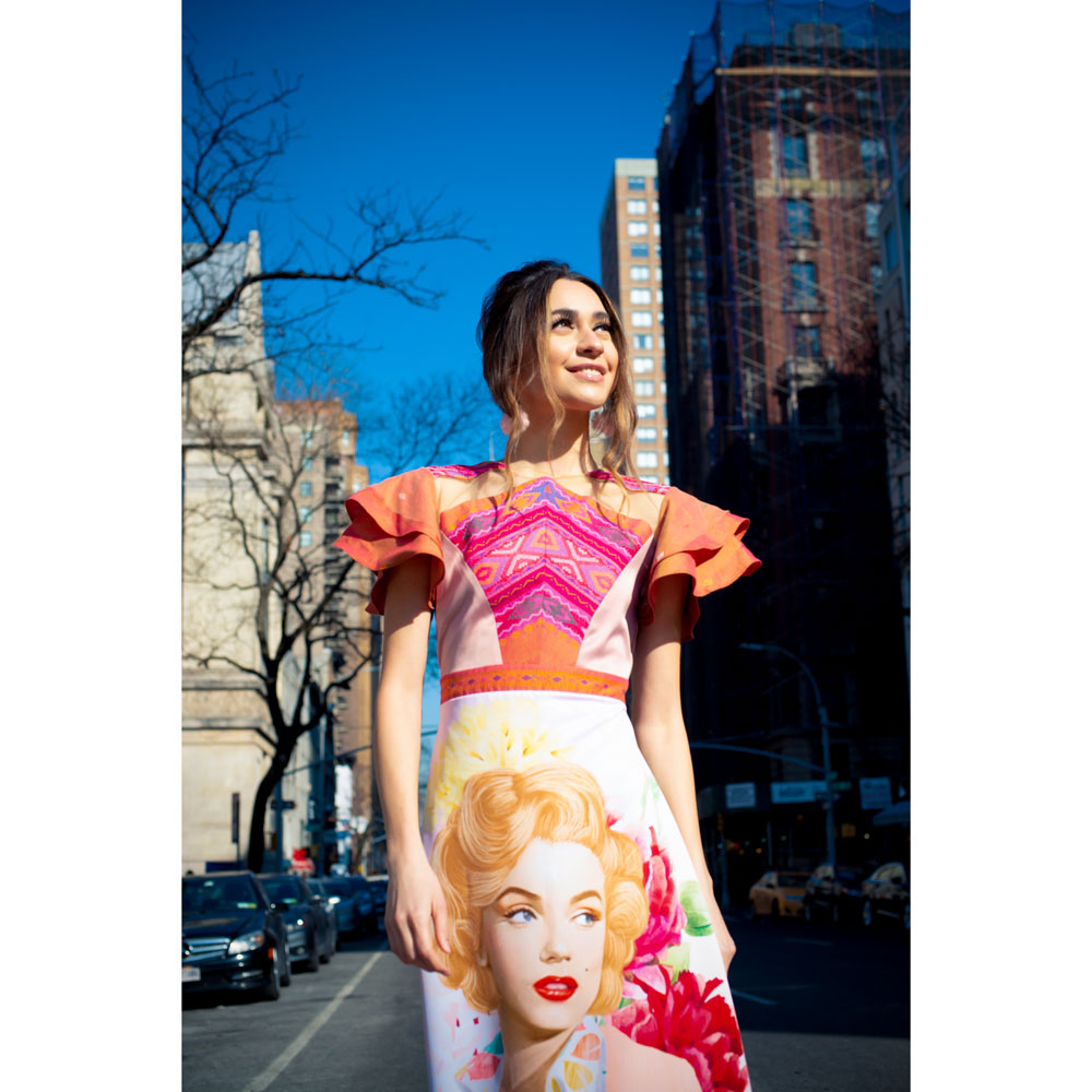Charlene Dress With Marilyn Retro in Peach Salmon-2MADISONAVENUE.COM