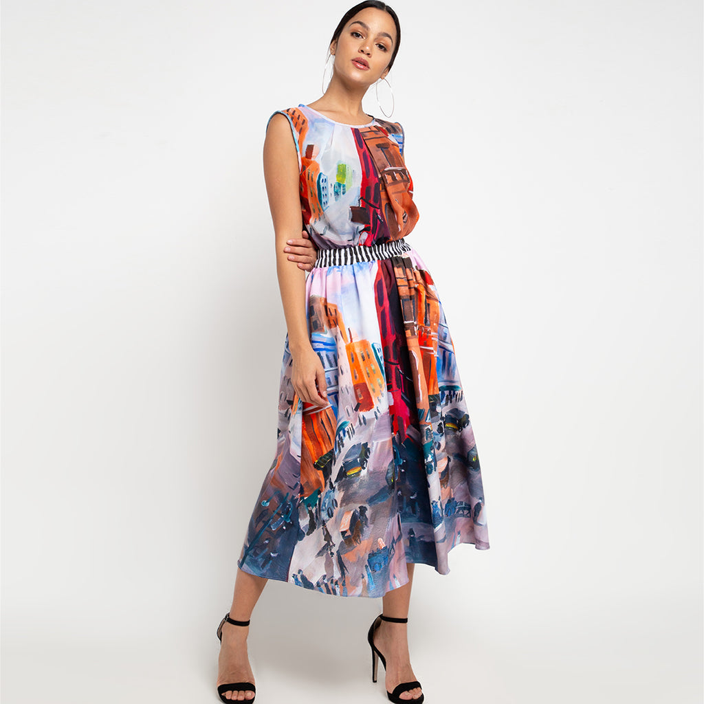 Summer Fine Dress With Downmidup-2MADISONAVENUE.COM