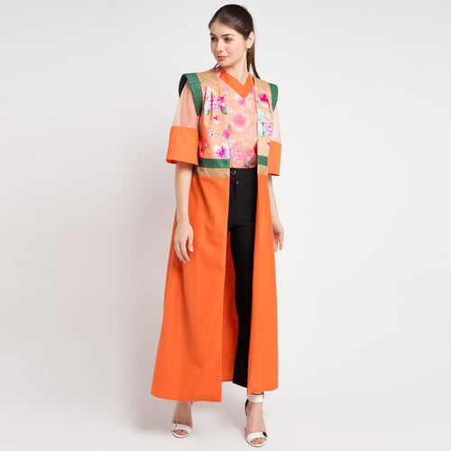 Miranda Long Vest in Orange Bliss-2Madison Avenue Indonesia
