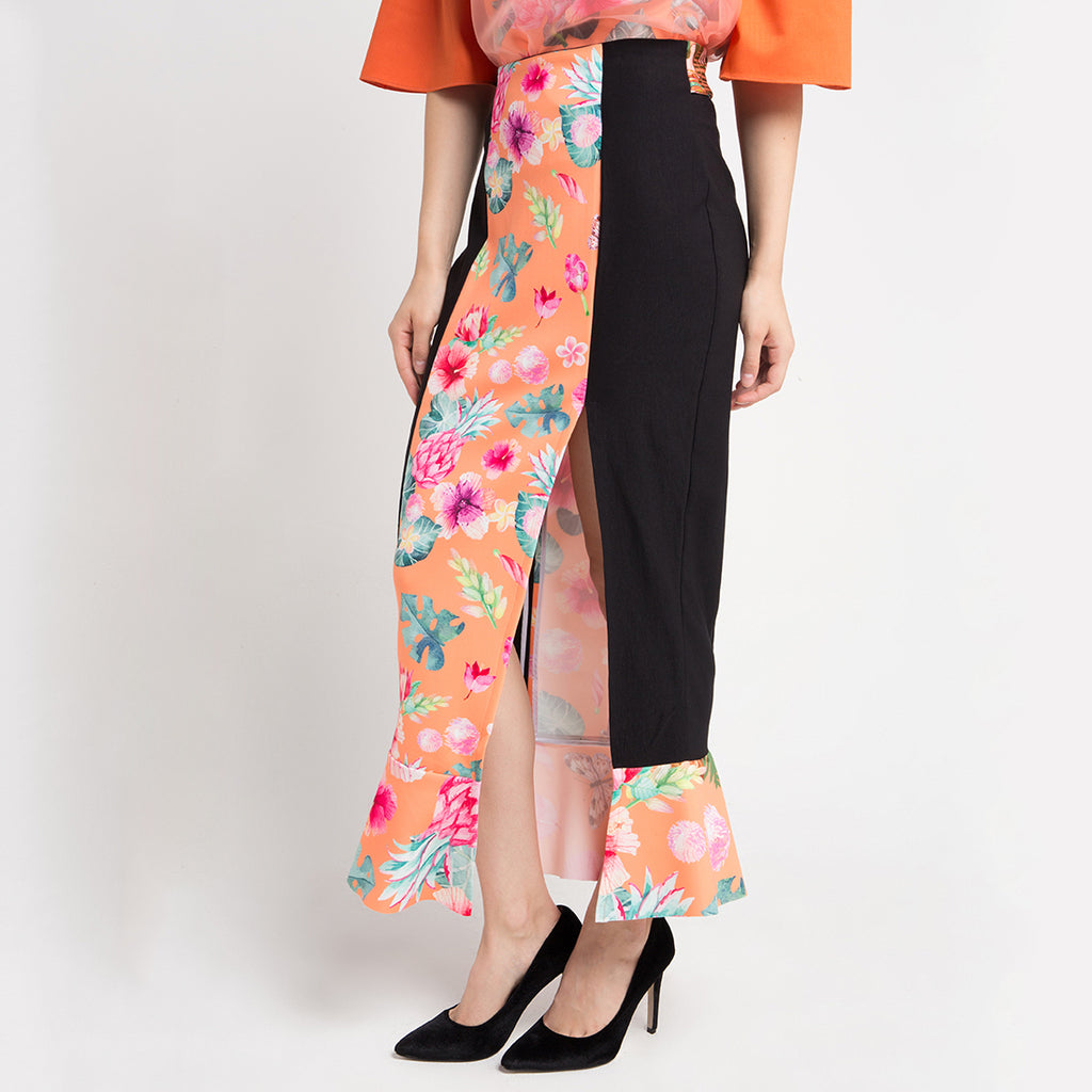 Carrie Skirt Long in Orange Bliss-2MADISONAVENUE.COM (1481433612330)