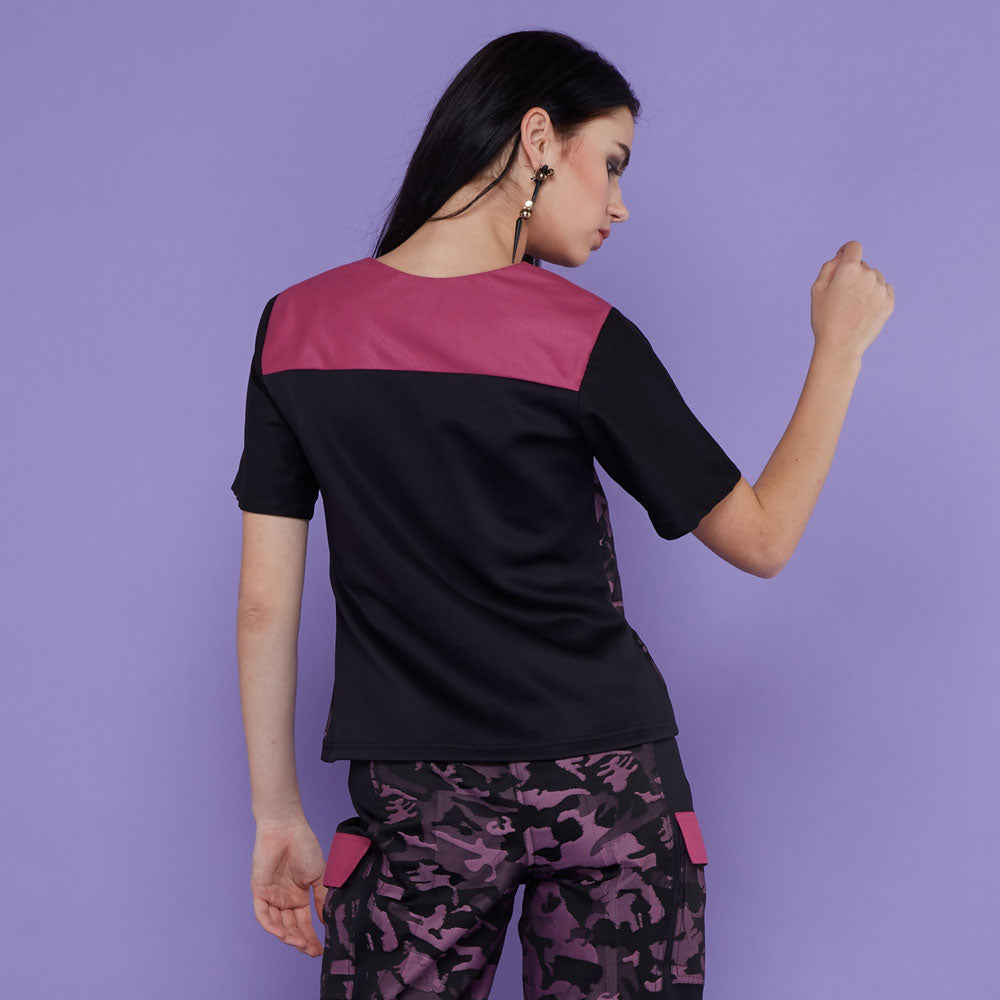 T-shirt With Army Purple-2MADISONAVENUE.COM