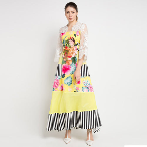 Jenniffer Long Dress in Yellow Bliss with White Lace-2Madison Avenue Indonesia
