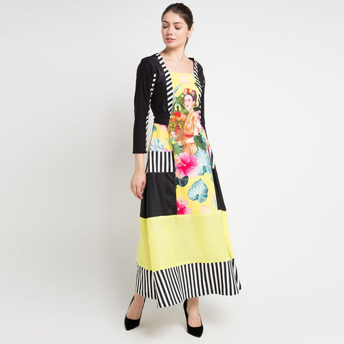 Jenniffer Long Black Dress in Yellow Bliss-2Madison Avenue Indonesia
