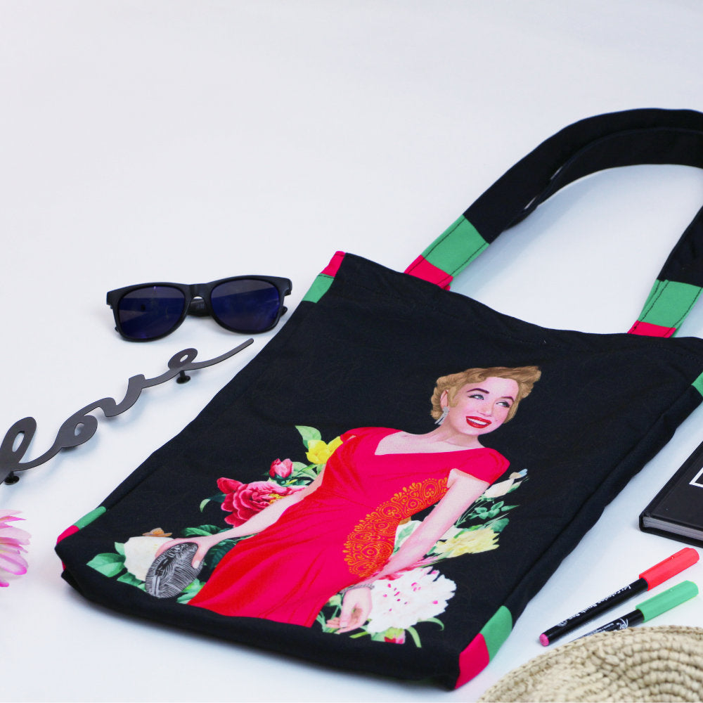 Medium Tote Bag With Marilyn Tropical-2MADISONAVENUE.COM