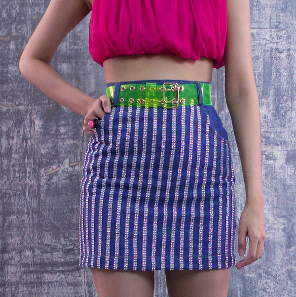 Vivify Mini Denim Skirt With Metalic Accent