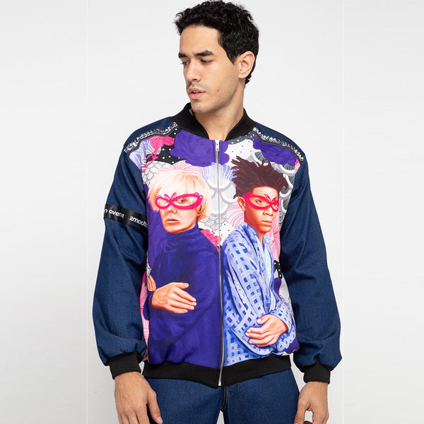 Man Varsity Denim Jacket Recharging With The Artist Art