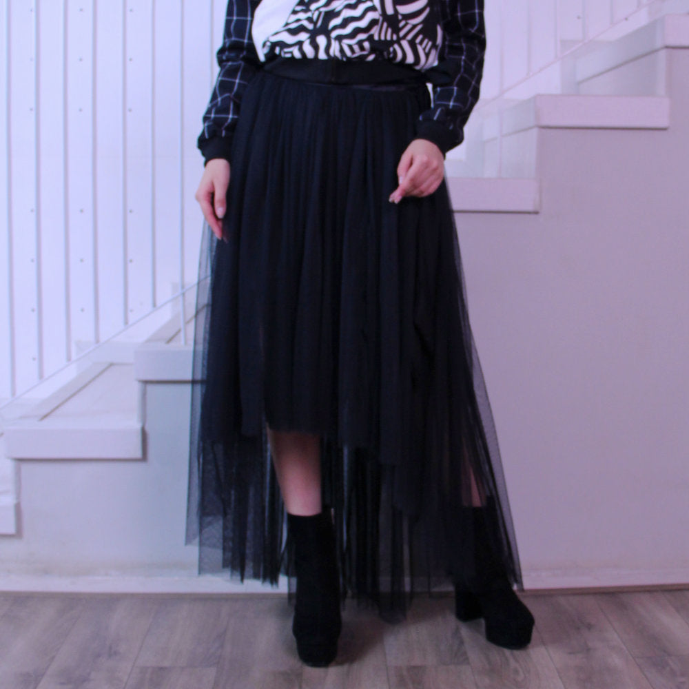 Fancy Belt Long Skirt With Tulle-2MADISONAVENUE.COM (3937429094442)