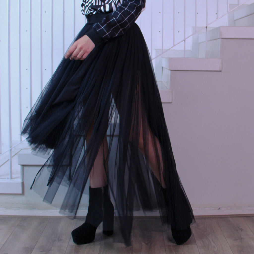 Fancy Belt Long Skirt With Tulle-2MADISONAVENUE.COM