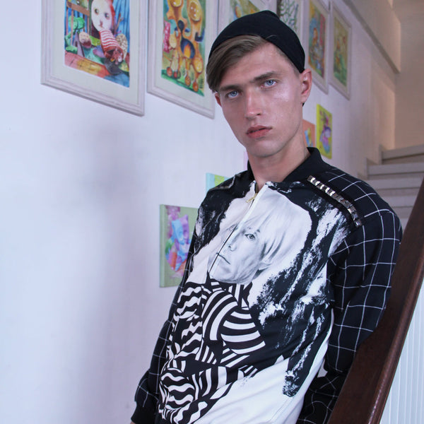 Man Varsity Jacket With Andy Warhol Art