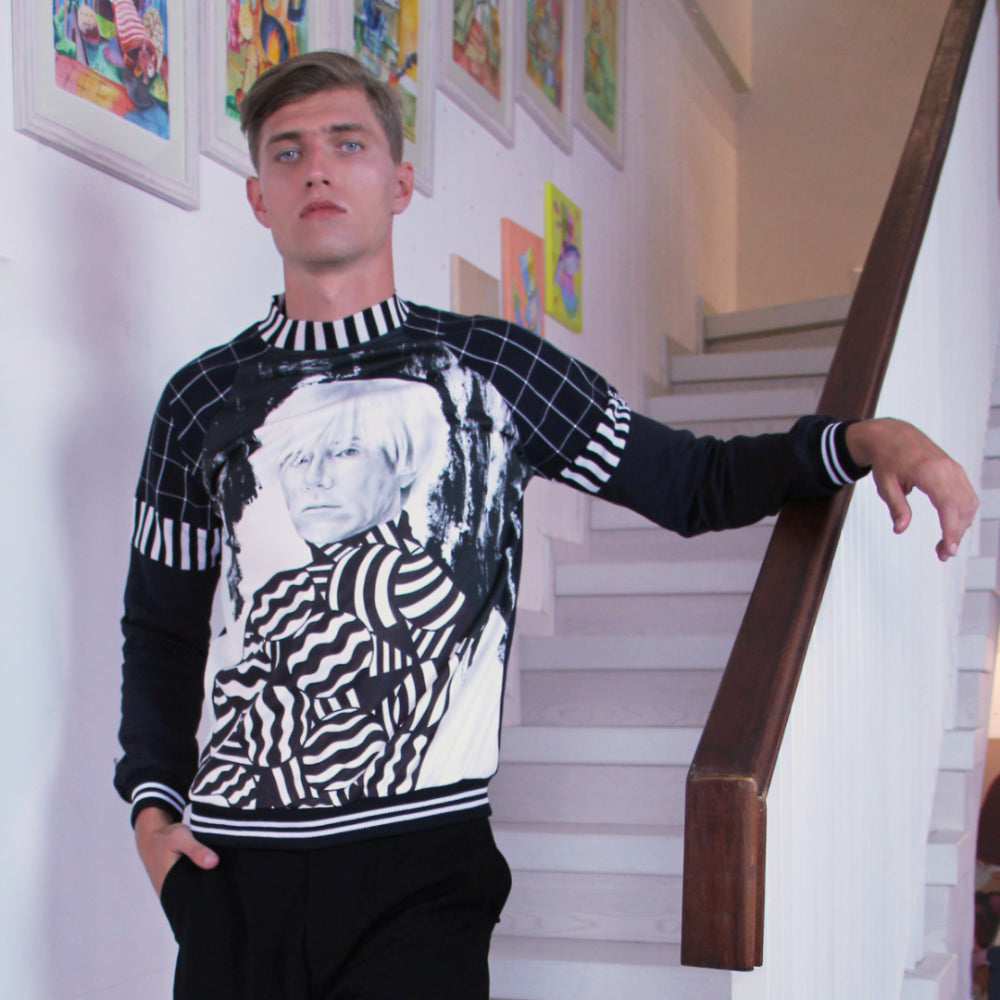 Gangsta Sweater With Andy Warhol Art-2MADISONAVENUE.COM