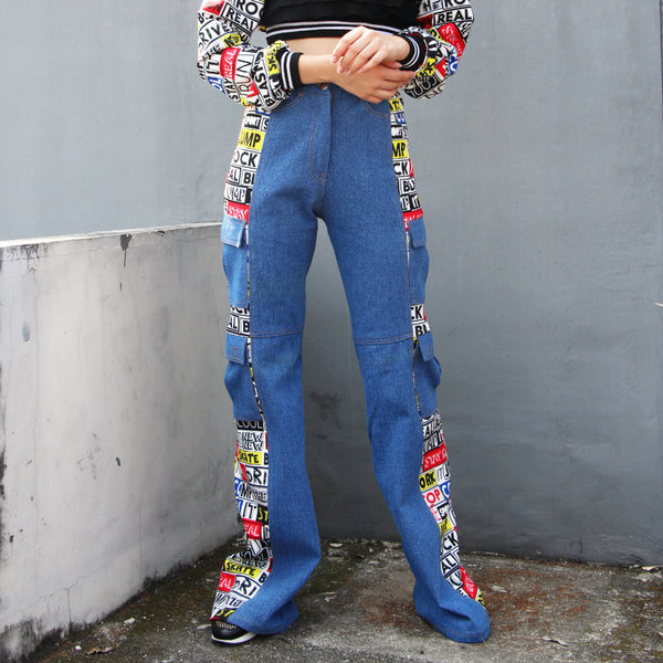 Cargo Denim Pants With Grafitti Art-2MADISONAVENUE.COM