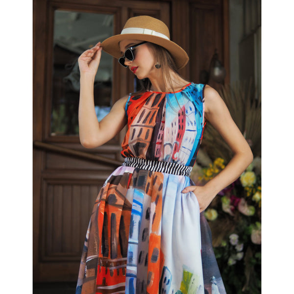 Summer Fine Dress With Downmidup