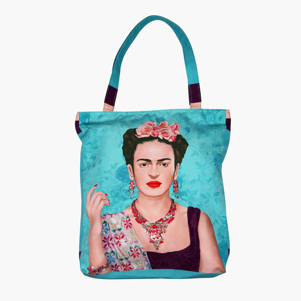 Frida Kahlo Blue Tote Bag-2MADISONAVENUE.COM