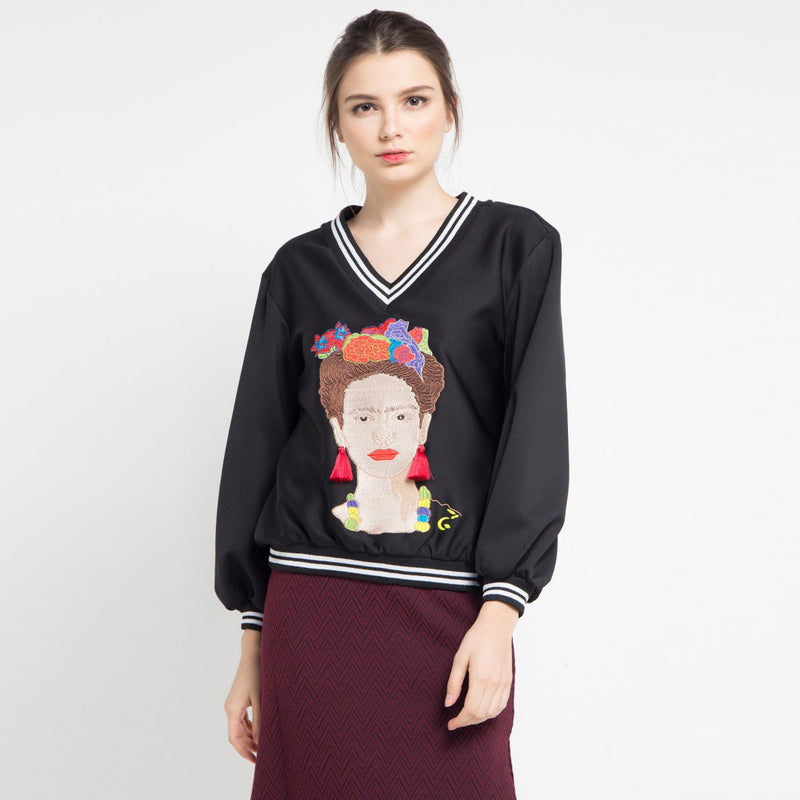 Carrie Sweater with Frida Kahlo Embriodery-2MADISONAVENUE.COM