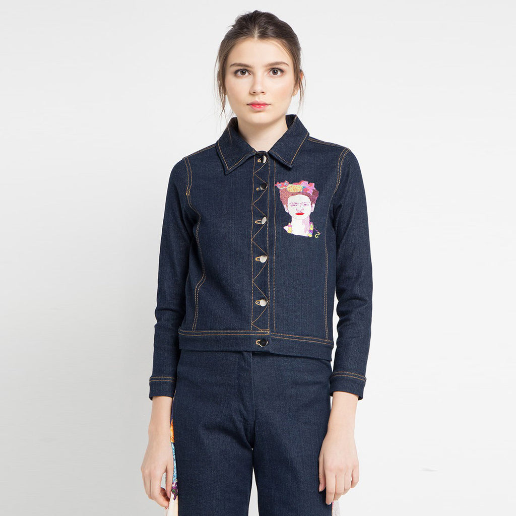 Boho Chic Denim Jacket with Frida Kahlo Embriodery-2MADISONAVENUE.COM