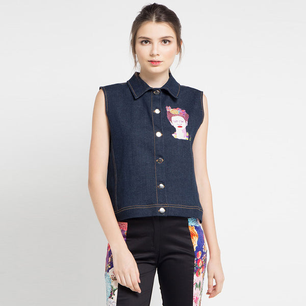Boho Chic Denim Vest with Frida Kahlo Embriodery-2MADISONAVENUE.COM