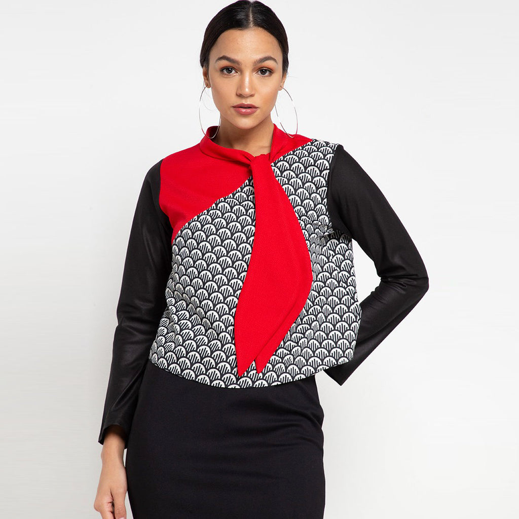 Fancy Top With Neck Ribbon Red Long Sleeve-2MADISONAVENUE.COM
