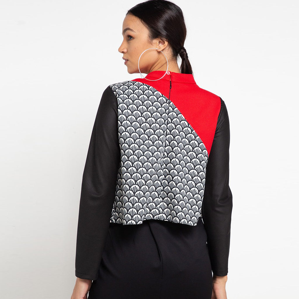 Fancy Top With Neck Ribbon Red Long Sleeve-2MADISONAVENUE.COM (3942561447978)