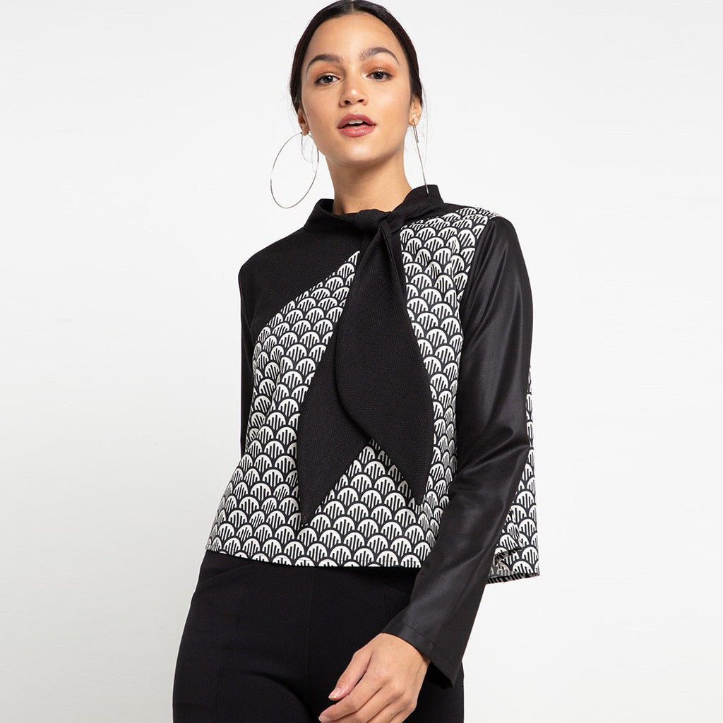 Fancy Top With Neck Ribbon Black Long Sleeve-2MADISONAVENUE.COM