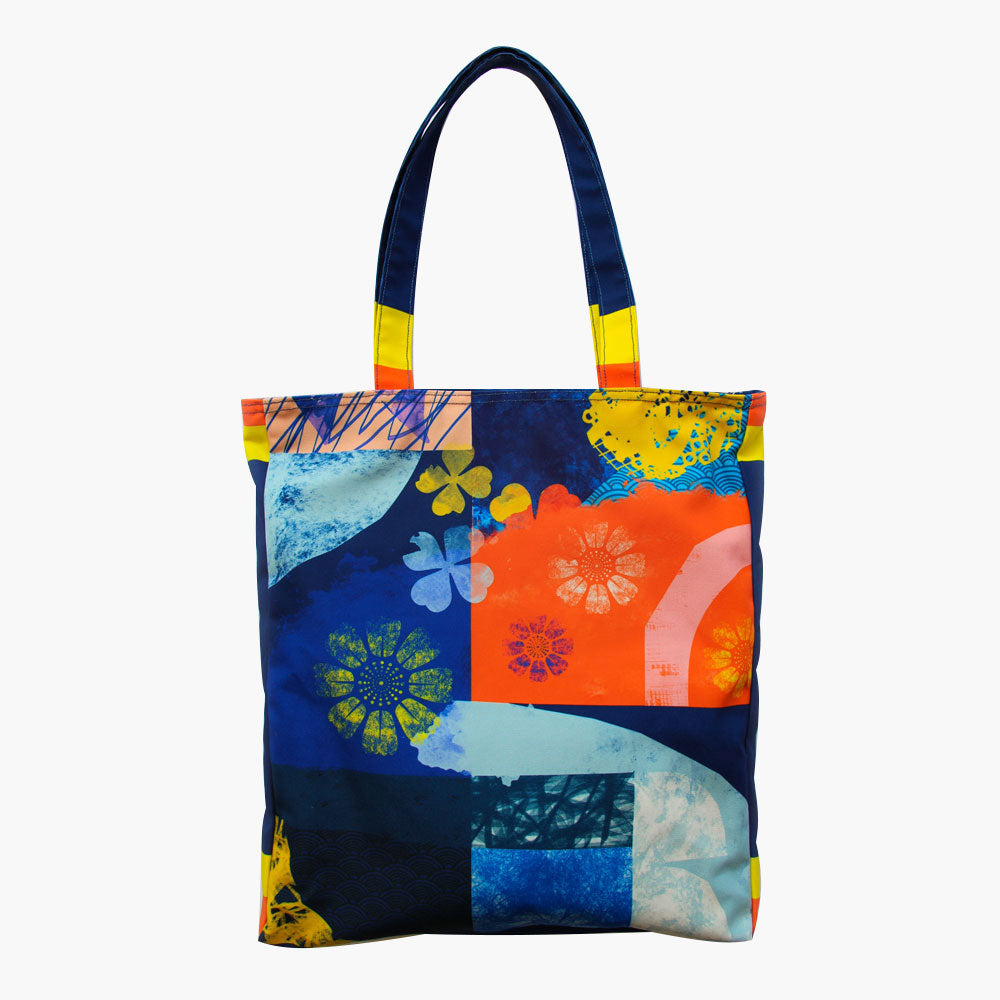 Orbital Navy Tote Bag-2MADISONAVENUE.COM