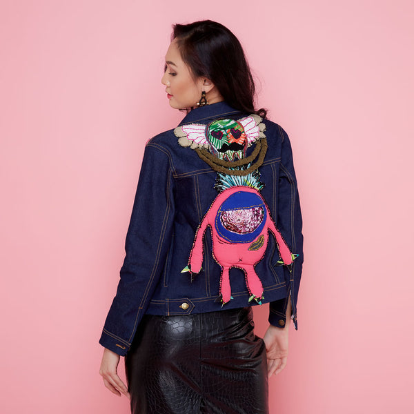 Boho Chic Denim Jacket With Patch By Robet Olga-2MADISONAVENUE.COM