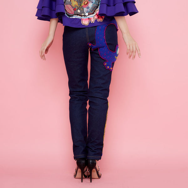 Boho Chic Denim Cullote With Patch By Robet Olga-2MADISONAVENUE.COM