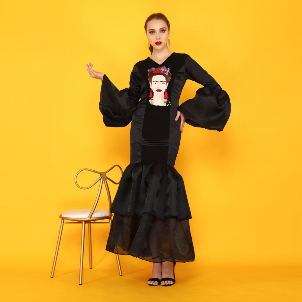Frida Kahlo Embroidery Overlap Black Dress With Sequins (1961357082666)