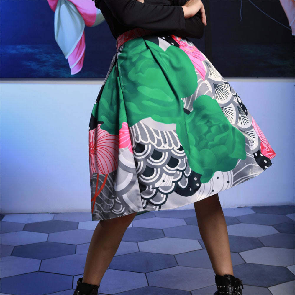 Fancy Ball Medium Skirt With Recharging Green-2MADISONAVENUE.COM
