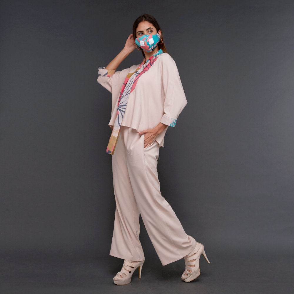 Hana Lounge Wear Beige With My Journey Pink (4800936706071)