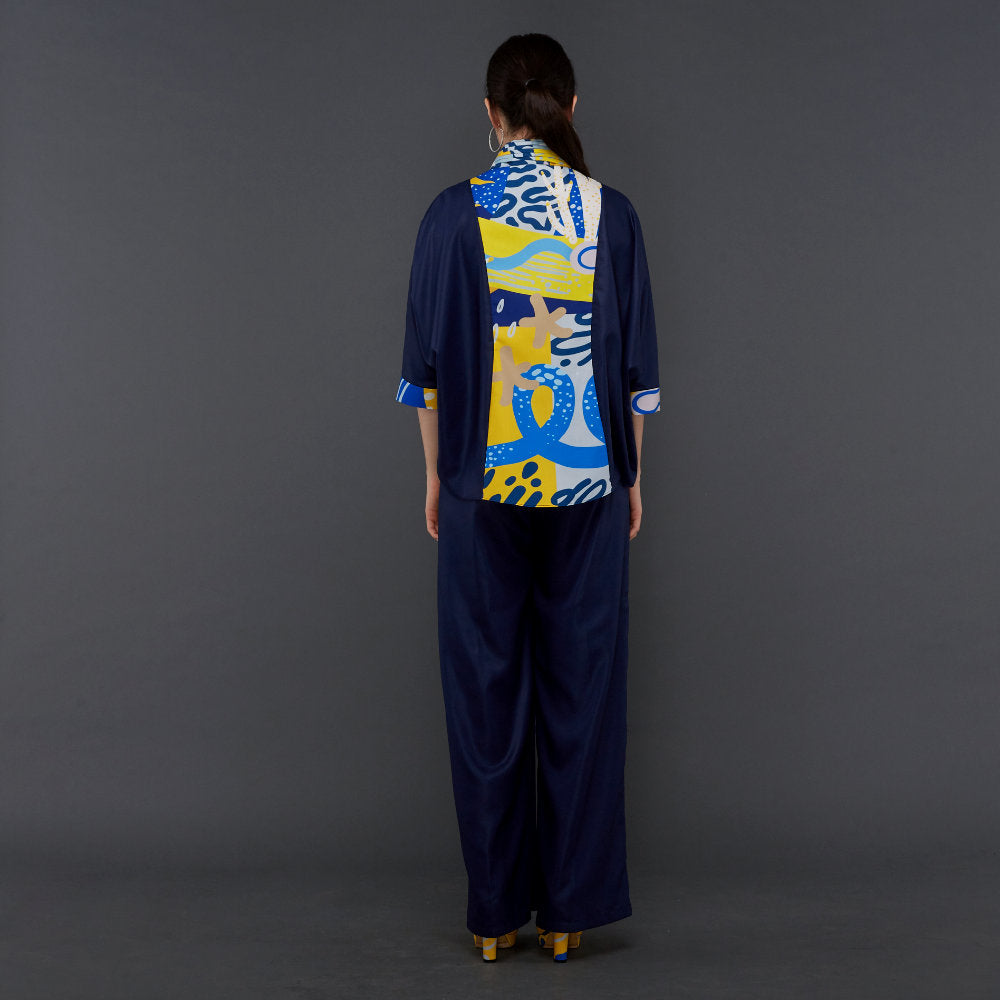 Hana Lounge Wear in Navy With Liga Yellow