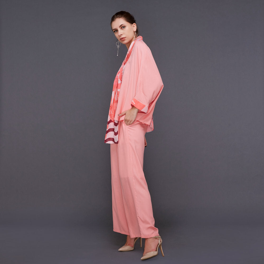 Hana Lounge Wear in Peach With Liga Pink Rose