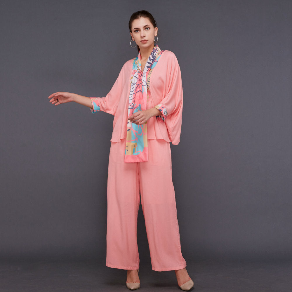 Hana Lounge Wear in Peach With My Journey Pink