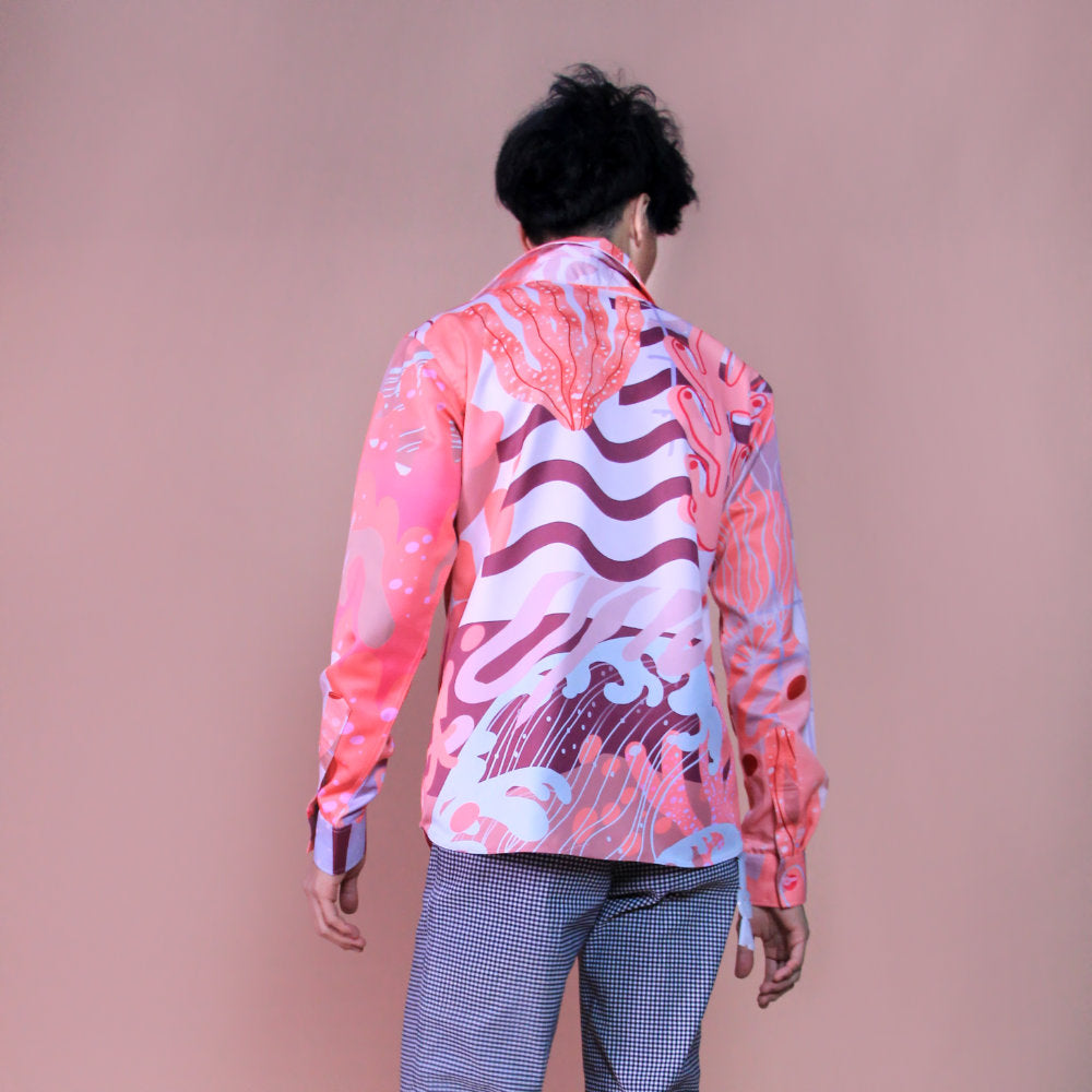 Liga men signature printed shirt in Rose Pink