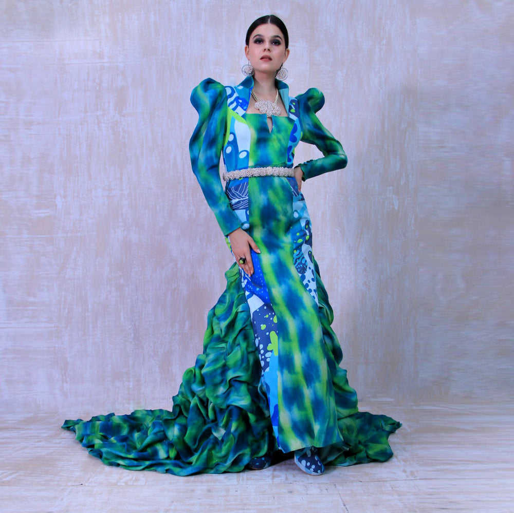 Liga DonaJeni Evening Dress in Aqua Green