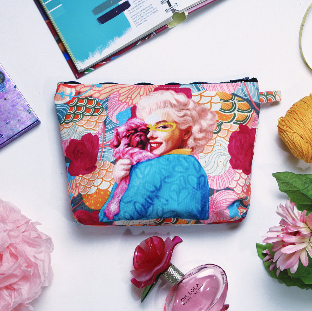 Pouch With Recharging Marilyn Puppy Art-2MADISONAVENUE.COM
