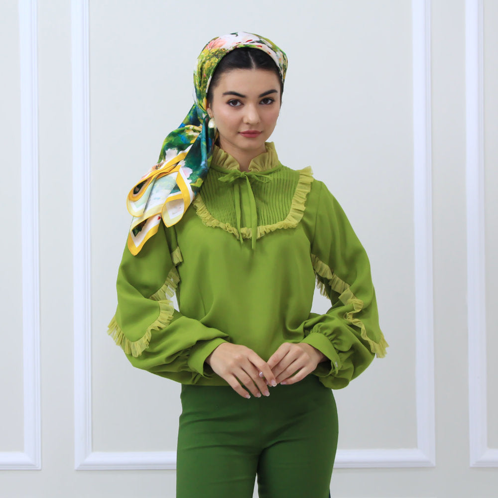 Romantic Top in Green (6550805381143)