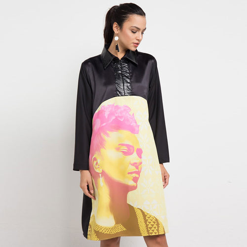 Kimberly Black Mid Dress With Frida Kahlo Yellow-2Madison Avenue Indonesia