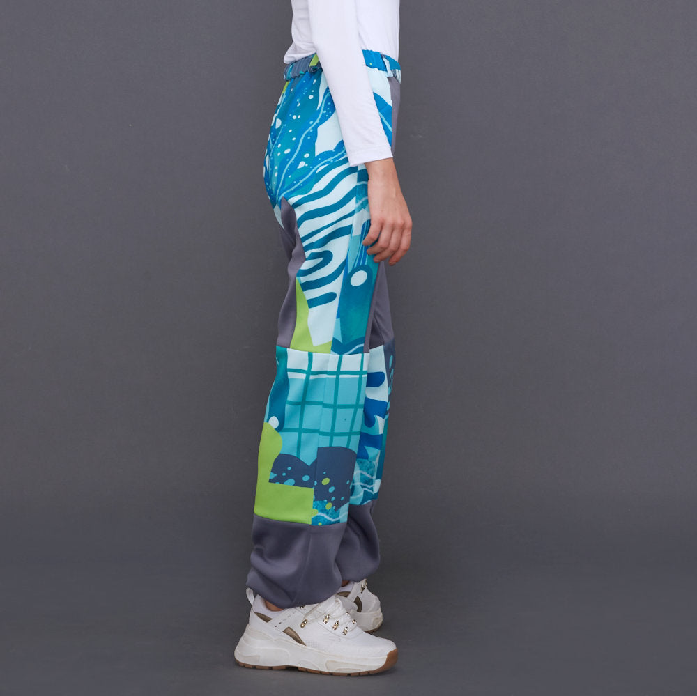 Liga Gangsta Pants in Grey With Liga Aqua (4535529799703)