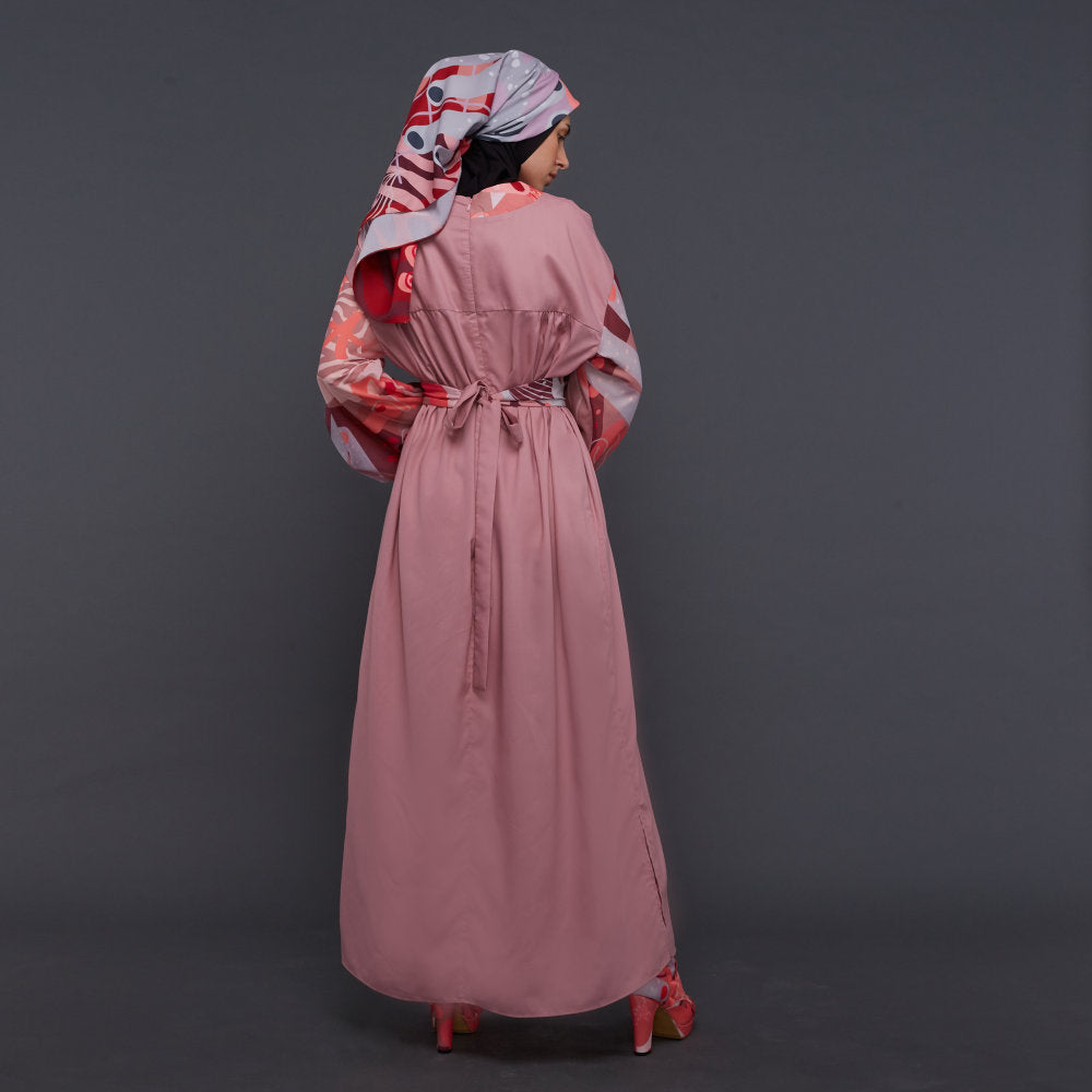 Liga Modest Relax Long Dress with Baloon Sleeve in Pink Rose (4826692878359)