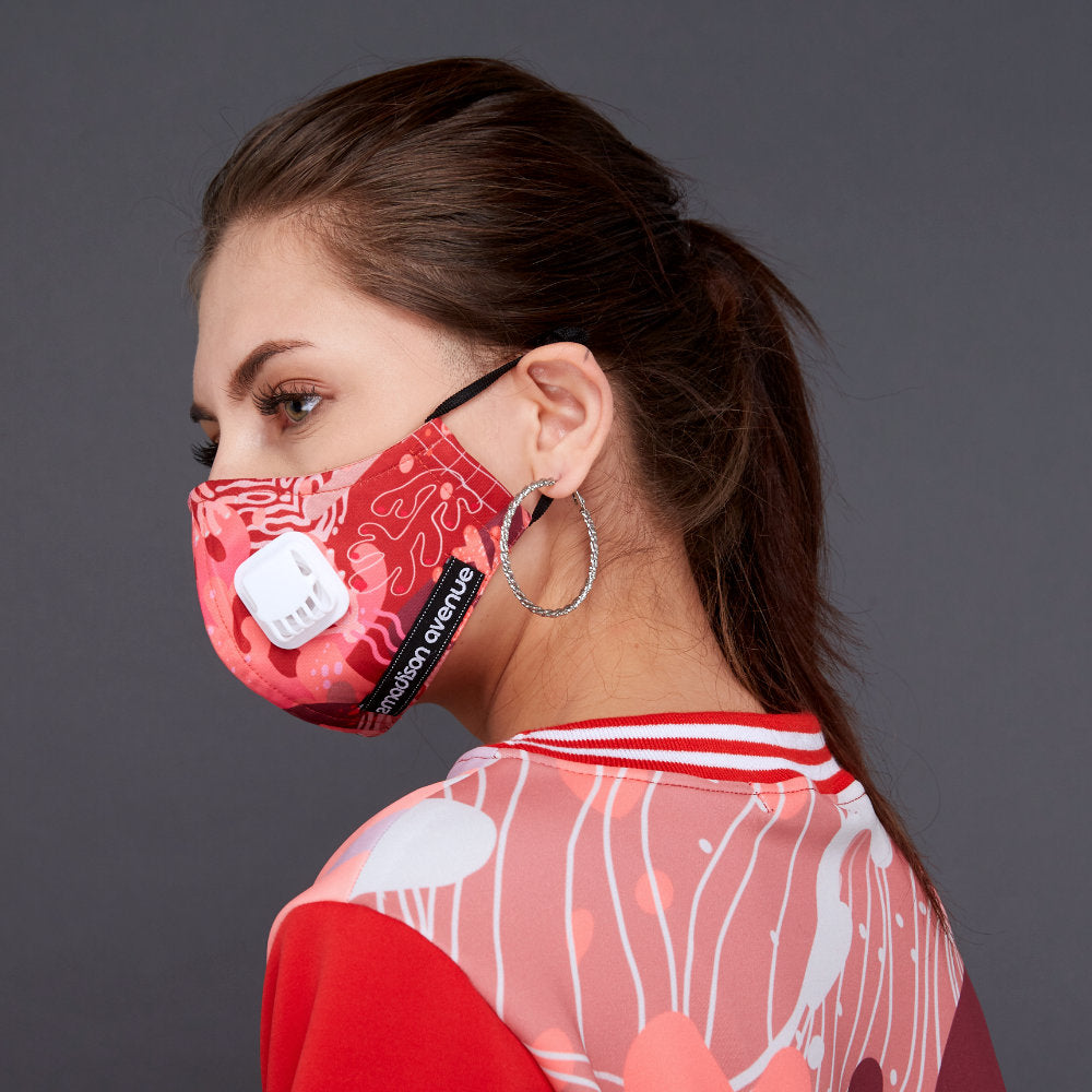 Liga in Pink Rose Facemask (4535558537239)